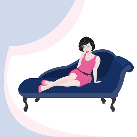 Pretty girl in pink dress sitting on vintage blue sofa. Vector illustration