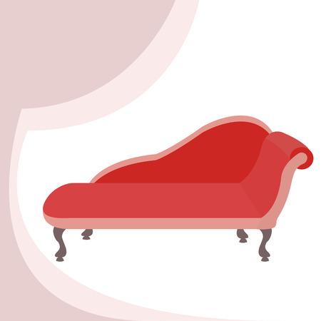 boudoir: Red rare vintage sofa Luxury. Vector illustration