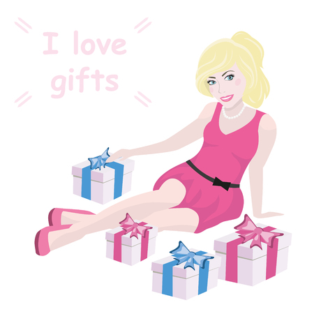 Pretty blonde girl in pink dress sitting on floor next to gift boxes with text. Vector illustration