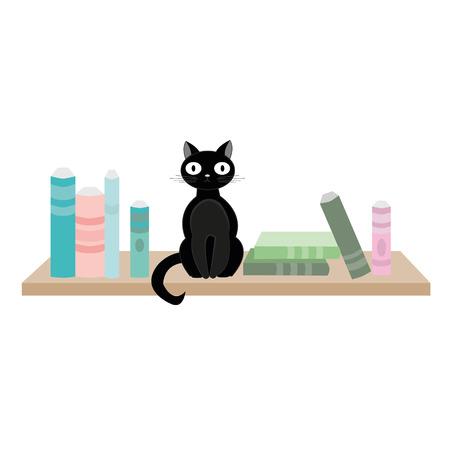 Black cat sitting on wooden shelf next to books. Vector illustration Illustration