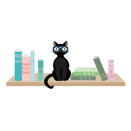 Black cat with glasses sitting on wooden shelf next to books. Vector illustration