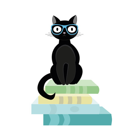 Books and black cat sitting on top. Vector illustration