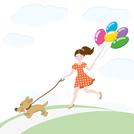 Happy little girl in dress with polka dots running with dog and holding balloons. Vector illustration