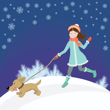 companions: Sweet girl in coat and hat on snowy track runs with dog on leash. In winter background with snowflakes. Vector illustration
