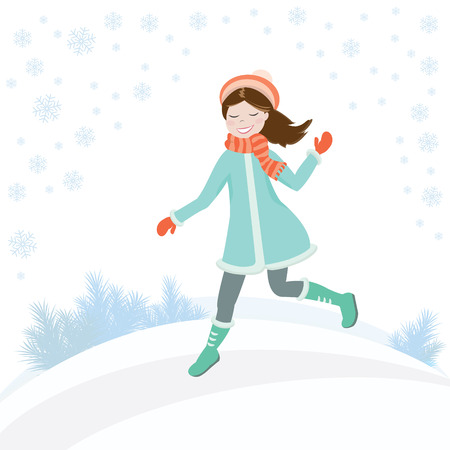 Little girl in a coat and hat runs through the snow on a winter background with snowflakes. Vector illustration