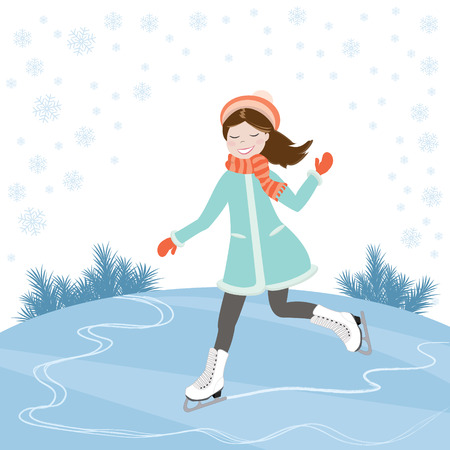 Joyful girl in coat skates on the ice. Skating. Winter sport. Vector illustration Illustration