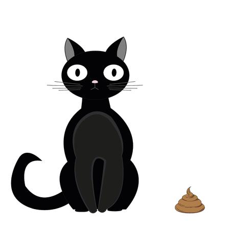 Black cat sitting next to turd. Vector illustration Illustration