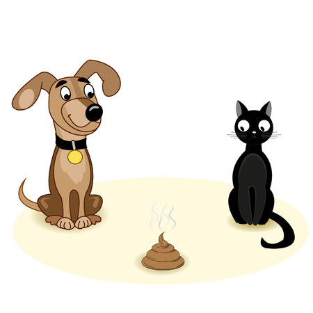 him: Dog with cat sitting beside him and look at piece of shit. Vector illustration