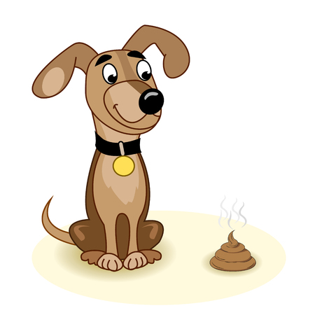 Brown dog sitting and looking at piece of shit on a white background. Vector illustration Illustration