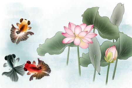 Goldfish swim in the lotus Stock Photo
