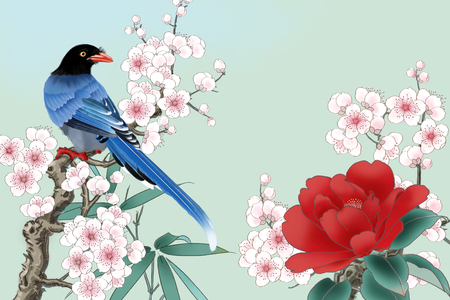 Plum branches on blue magpie Stockfoto