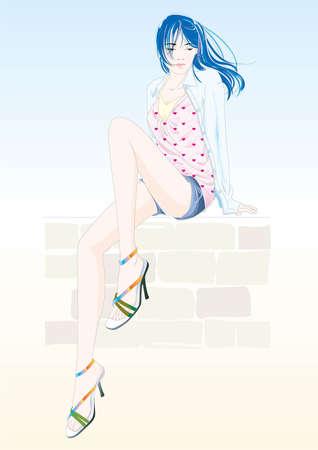 Casual girl Stock Illustratie