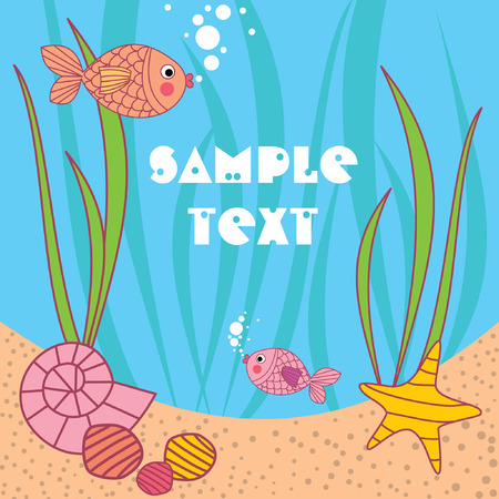 card with cartoons fish under the water Vector