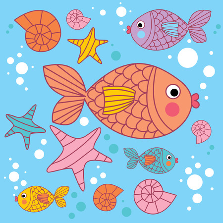 underwater fishes: background with cartoons fish under the water