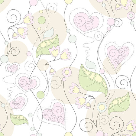 seamless floral romantic wallpaper Stock Vector - 6740828