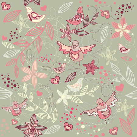 seamless floral romantic wallpaper Vector