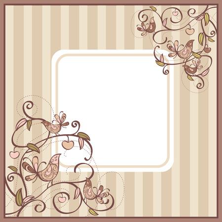 carte mignonne avec des oiseaux et des fleurs