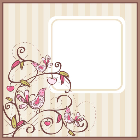 free vintage background: cute card with birds and flowers