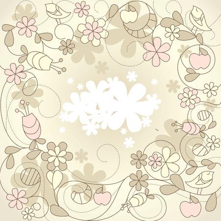 carte cute avec les oiseaux et les fleurs  Vecteurs