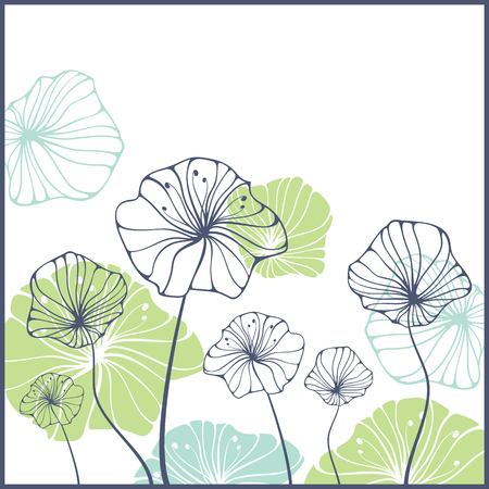 card with cute abstract flowers Illustration