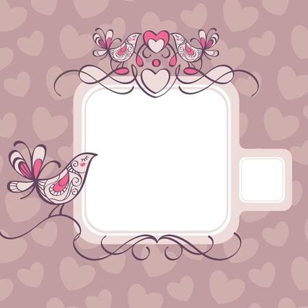 wedding frame with hearts and birds Stock Vector - 6762538