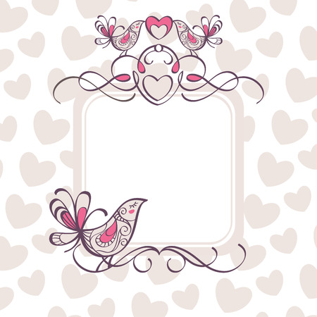 wedding frame with hearts and birds Vector