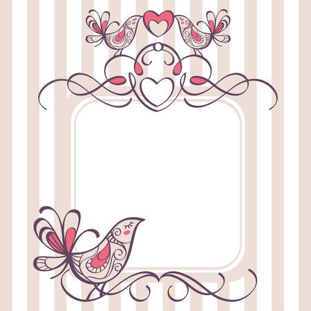 wedding frame with cute birds Vector