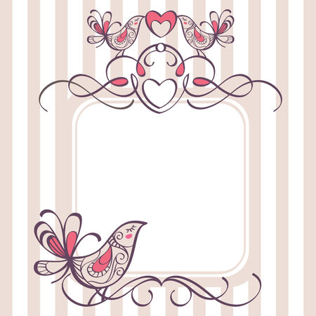 wedding frame: wedding frame with cute birds
