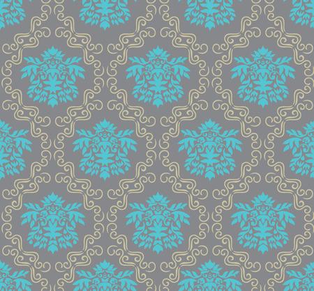 tileable: seamless damask wallpaper, illustration Illustration
