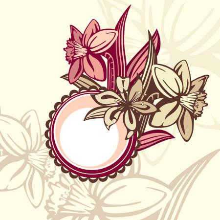 retro floral frame,  illustration Stock Vector - 6762619