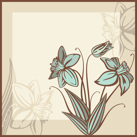 retro card illustration with flowers Stock Vector - 6762608