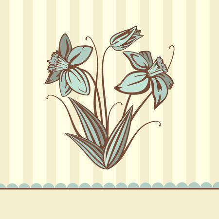 retro flower card,  illustration Stock Vector - 6762607