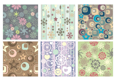 small collection of cute seamless wallpaper Stock Vector - 6762664