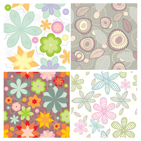 small collection of cute seamless wallpaper Vector