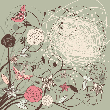 pink border: abstract verctor background card with flowers and birds