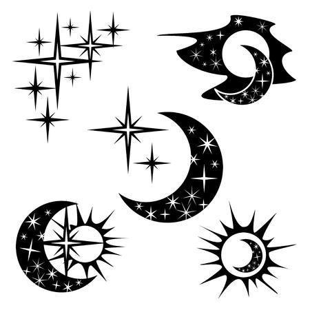 sonne mond und sterne: Satz von Designelementen, abstrakte Symbole  Illustration
