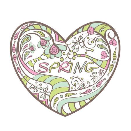 cute spring heart  illustration Stock Vector - 6762658