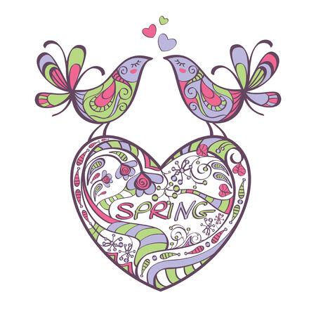 heart, birds, spring illustration Stock Vector - 6762657
