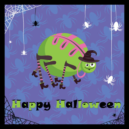 greeting card with cute halloween spider Stock Vector - 6762795