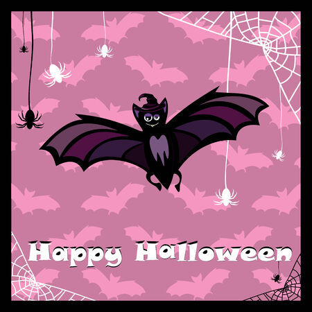 greeting card with cute halloween bat Vector