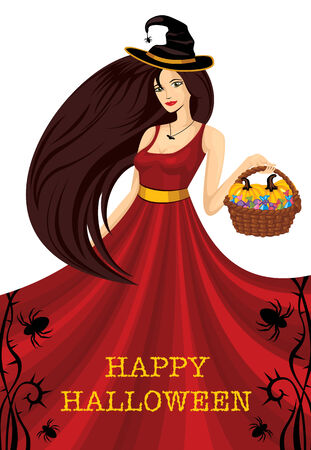 Beautiful halloween witch with pumpkin Stock Vector - 6762798