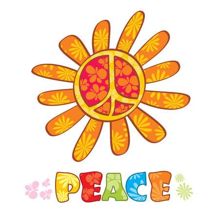 symbol peace: S�mbolo de la paz de hippie, ilustraci�n Vectores