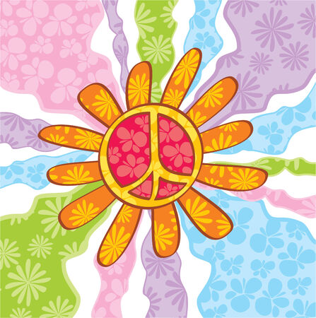 Hippie peace symbol,  illustration