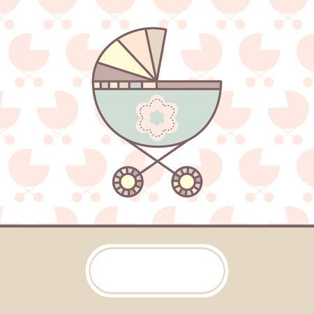 carte d'arrivée de bébé avec berceau