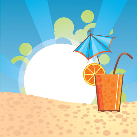 cocktail party: orange cocktail illustration with free space