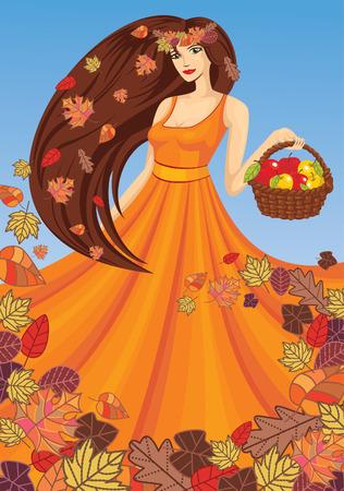 autumn fashion: lady autumn with basket