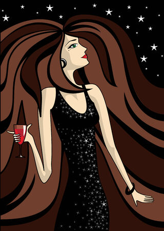 beautiful woman with glass of wine Stock Vector - 6771658