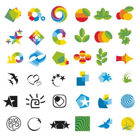icons logo: Satz von Designelementen, abstrakte Symbole