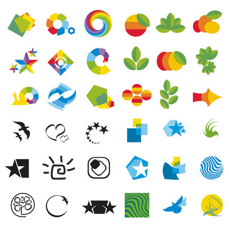logos design: set of design elements, abstract icons