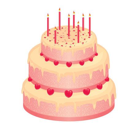 pink wedding: sweet pink wedding cake Illustration
